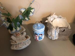 Misc. Items- Antique Trumpet, Snowman Jar, Floral Decor, Etc.