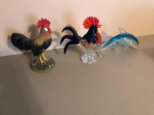 Decorative Roosters and Glass Dolphin