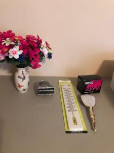 Misc. Items- Thermometer, Hairbrush, Artificial Floral Decor, Etc.
