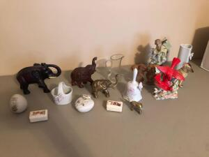 Misc. Items- Figurines, Ceramic Bell, Heart Shaped Flower Vase, Etc.