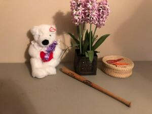 Misc. Items- Artificial Floral Arrangement, Teddy Bear, Small Wooden Bat, Etc.