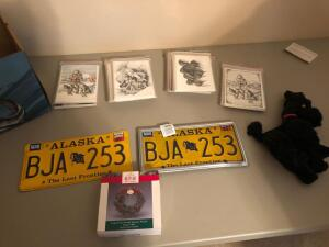 Misc. Items- Alaskan License Plates, Alaskan Christmas Cards, Etc.