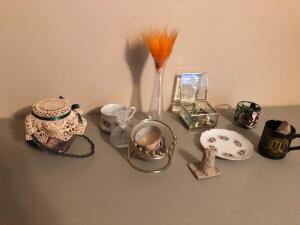 Misc. Items- Flower Vase, Ceramic Cup and Saucer, Candle, Etc.