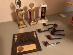 Misc. Items- Tobacco Pipes, Plaque, Trophies, Etc.