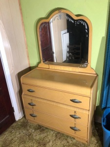 Wood Dresser w/ Vanity Mirror and Seat- 69in. T x 42in. W x 21in. D