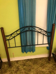 Full Size Wood and Metal Headboard