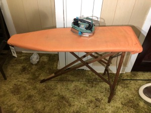 Antique Wood Ironing Board with Iron