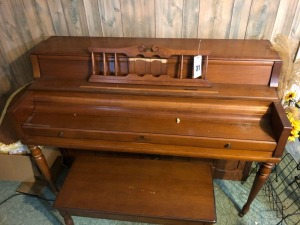 Wurlitzer Wood Piano w/ Bench- 40in. T x 56in. W x 24in. D
