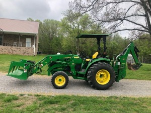 2016 John Deere 4066R with Bucket, Grapple, and Backhoe - Shows 198 hours (selling subject to seller confirmation, see description, pickup 7/2)