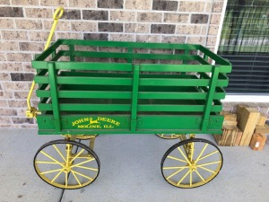 Amish-made Wooden John Deere Pull Cart/Wagon with Iron Base, Wheels, Suspension, and Handle