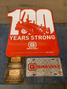 "Gravely Wall Sign, Plaques, and License Plate - Sign: 20""x25"", Plaques: 4""x6"""