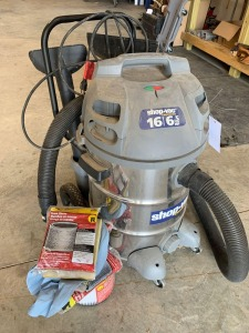 16 gallon Contractor Shop-Vac with Attachments and Extra Filter, Bags, and Foam Sleeves