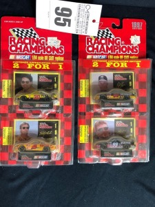 (4) Racing Champions Nascar Die Cast 1997 Edition Replicas: David Green, Jeff Burton, Johnny Benson, and Sterling Marlin