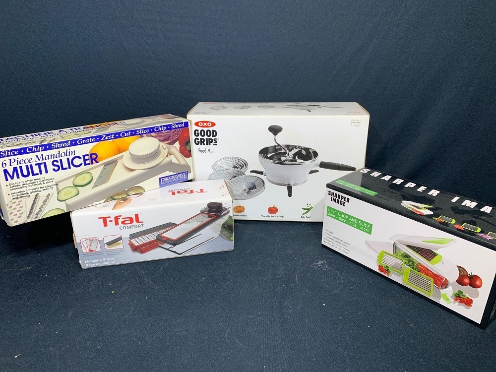 Lot #509Kitchen Accessories: 4-in-1 Chop and Slice by Sharper Image, Food  Mill by OXO Good Grips