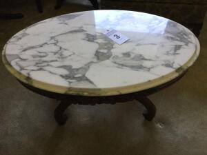 Vintage Victorian Marble top coffee table rose design - 17 x 34 x 22