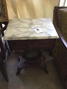 Vintage Victorian Marble top end table harp/rose design (match lot #5) - 28 x 18 x 14