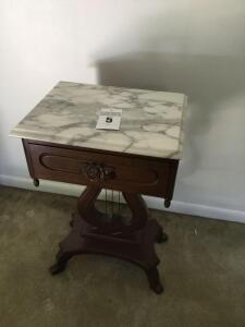 Vintage Victorian Marble top end table harp/rose design (match lot #4) - 28 x 18 x 15