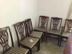 6 wood dining chairs - one captain chair - 36 x 20 x 17