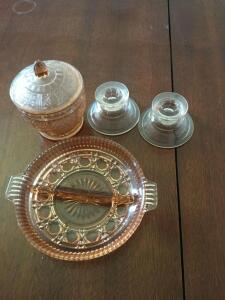Depression glass candy bowl, divided dish & candle holders - 17 x 144 x 22