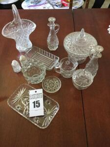 Variety of glass serving items: sugar bowl, creamer, salt/pepper butter dish, glass bowl with handle, oil dispensers, candy dish with lid etc. - 28 x 18 x 115