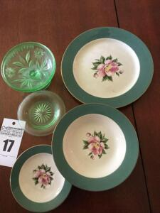 Green depression glass bowl, saucer & plate, bowl & plate