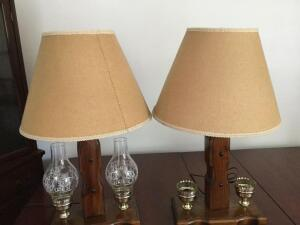 2 lamps with wood bases (globes missing on one lamp) with shades - 29 x 20 (13x7 base)