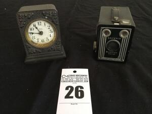 2 antique items: Brownie Target six-20 camera & Westclox Ironclad wind up alarm clock