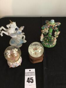 4 music boxes: carousal horse themed - 2 water globes