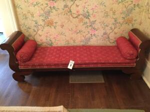 Antique Meridian Mahogany/cloth couch (veers over mahogany