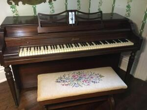 Acrosonic piano with embroidery open-top bench (Buyer responsible for removal)