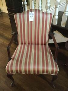 Antique arm chair with wood/cloth