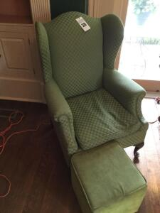 Wing back arm chair with square foot stool (green cloth)