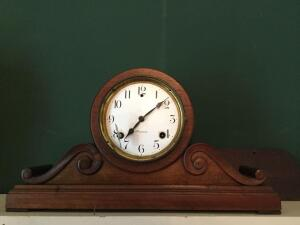 Antique Sessions key wind mantle clock (missing glass face & the back door needs repair