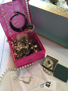 Box with a variety of costume jewelry (some pieces never worn)