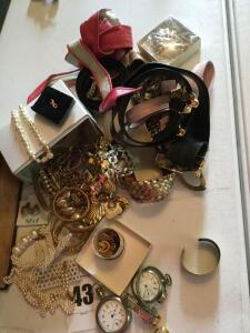 Variety of costume jewelry, timepieces & several belts
