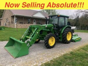 Now Selling Absolute! 2016 John Deere 5085E with Bucket - Shows 281 hours (rotary cutter sold separately)