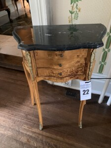 Antique French style 3 drawer marble top table (matches lot # 21)