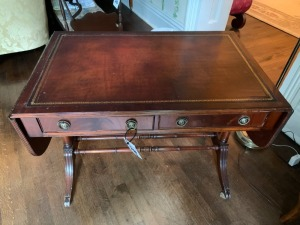 Antique fold down side inlaid wood desk/sofa table with two drawers