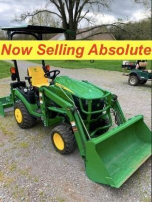 NOW SELLING ABSOLUTE - 2016 John Deere 1025R with Bucket & John Deere 60D: 60 Inch Drive Over AutoConnect Mower Deck - Shows 216 hours