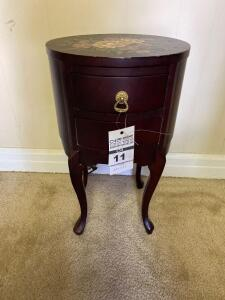 Wooden Side Table w/ Flower Design- 22in. T x 13in. W x 11in. D