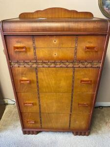Vintage Wooden Waterfall Dresser- 53in. T x 32in. W x 17in. D