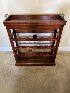 Wooden Wine Rack w/ Removable Tray Top- 32in. T x 28in. W x 11in. D