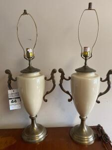 Pair of Antique Glass and Metal Lamps 30in. T
