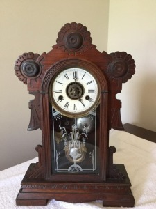Antique W.L. Gilbert Clock Co.  mantle clock key wind - bell chime