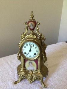 Antique Waterbury Clock Co. decorative metal/plated- porcelain mantle clock key wind chime
