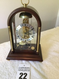 Franz Hermle decorative glass/wood mantle clock - key wind
