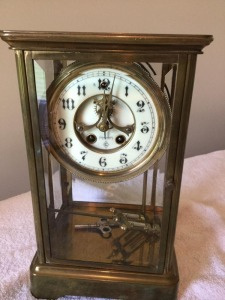 Antique Gilbert glass/Brass decorative mantle clock - key wind  weighted pendulum - chime