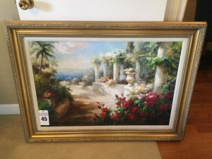 Framed & matted canvas painting - wood frame