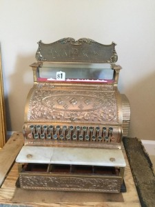 Antique National Cash Register Co 1901 Brass Cash register with brass, marble, & glass window display (some buttons stick)