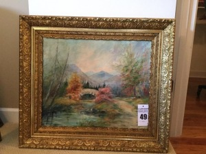 Framed canvas painting - thick wood frame - signed by Edith Darrow